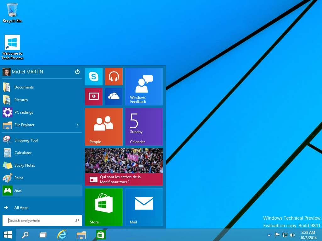 Windows 10 technical preview m diaforma for Ouvrir fenetre plein ecran windows 7