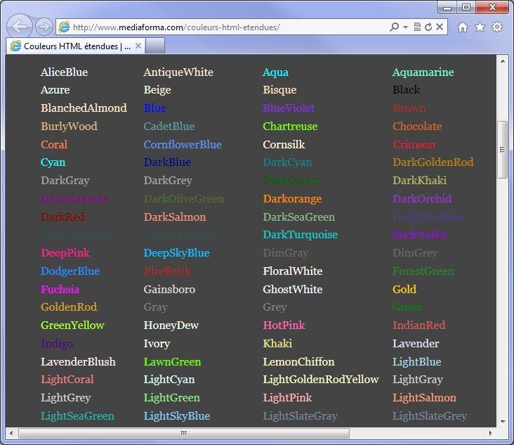 Nom Couleurs D'autres Noms de Couleurs