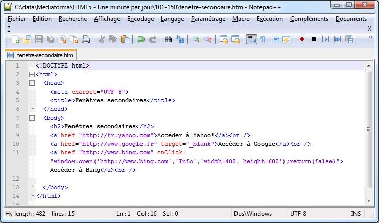 Fonction javascript onclick for Ouvrir fenetre javascript