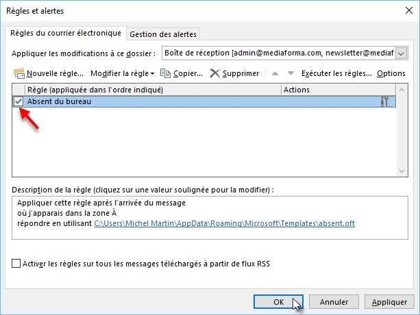 Outlook 2016 - Répondre automatiquement aux messages reçus