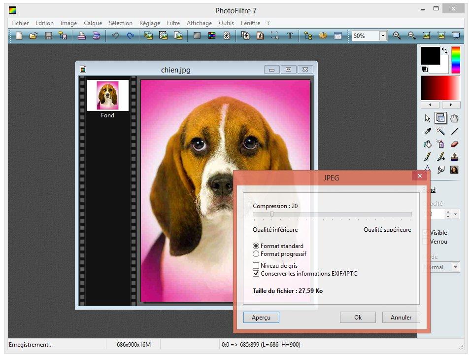Photofiltre - Compresser une image