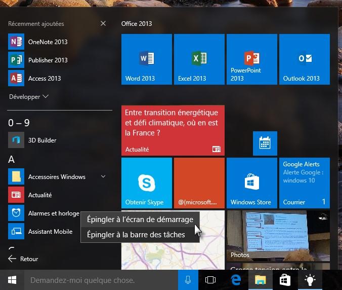 Windows 10 ajouter des vignettes dans le menu d marrer for Ecran pc taille