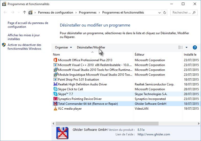 programme ne désinstalle pas Windows 10