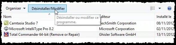 réinstaller supprimer des programmes windows 8