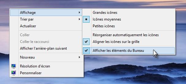 windows 8 1 afficher ou masquer les ic nes du bureau m diaforma. Black Bedroom Furniture Sets. Home Design Ideas