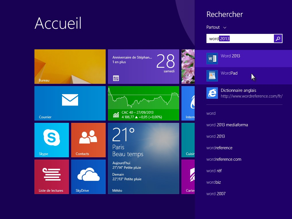 Windows 8 1 lancer une application de bureau m diaforma for Bureau windows 8