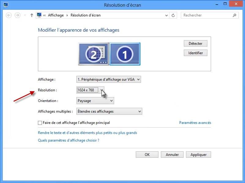 Windows 8 1 modifier la r solution de l 39 cran m diaforma - Comment faire apparaitre les icones sur le bureau ...