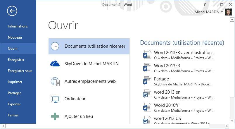 word 2013 - ouverture d u0026 39 un document existant