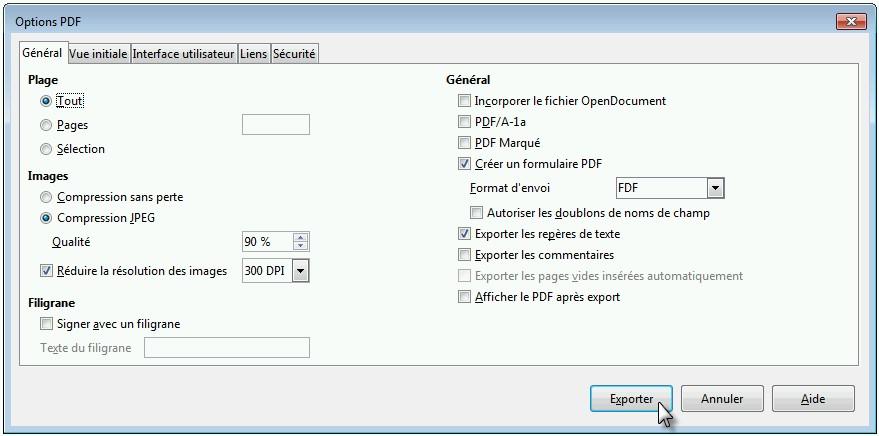 Créer des PDF avec LibreOffice