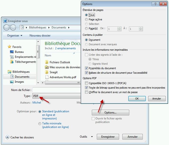 Créer des PDF avec Office 2010 ou 2013