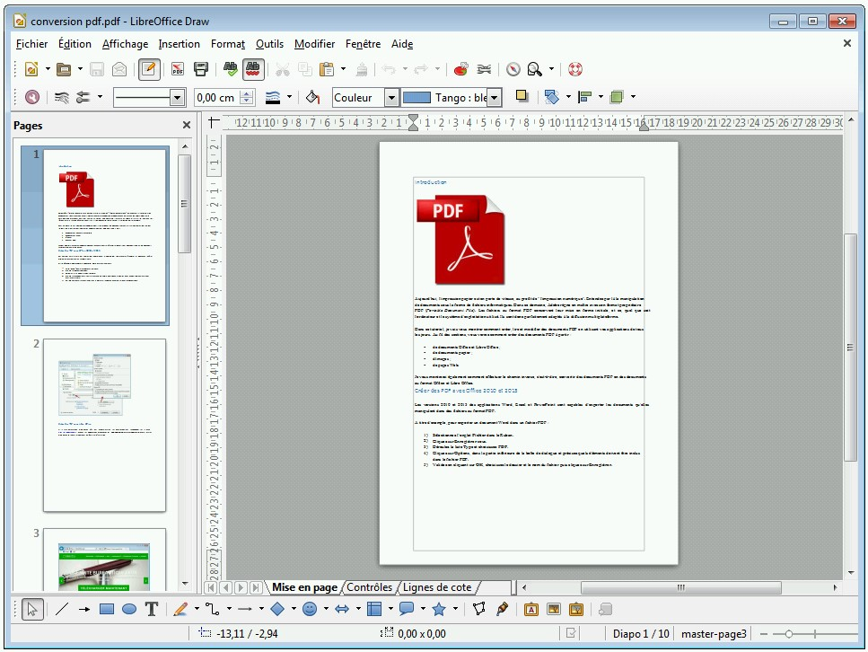 LibreOffice Draw - Edition d'un PDF