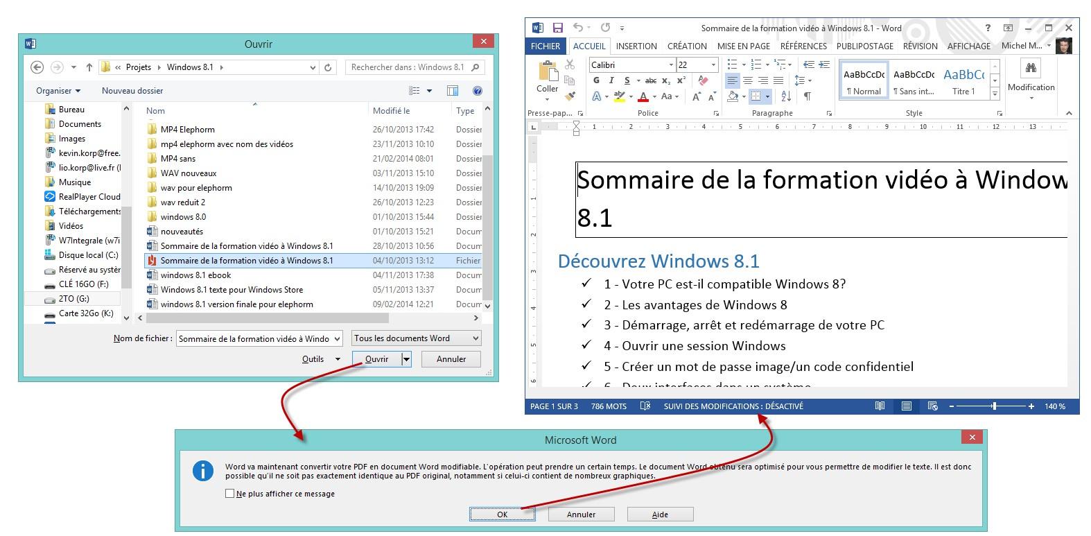 Modifier un fichier PDF dans Word 2013