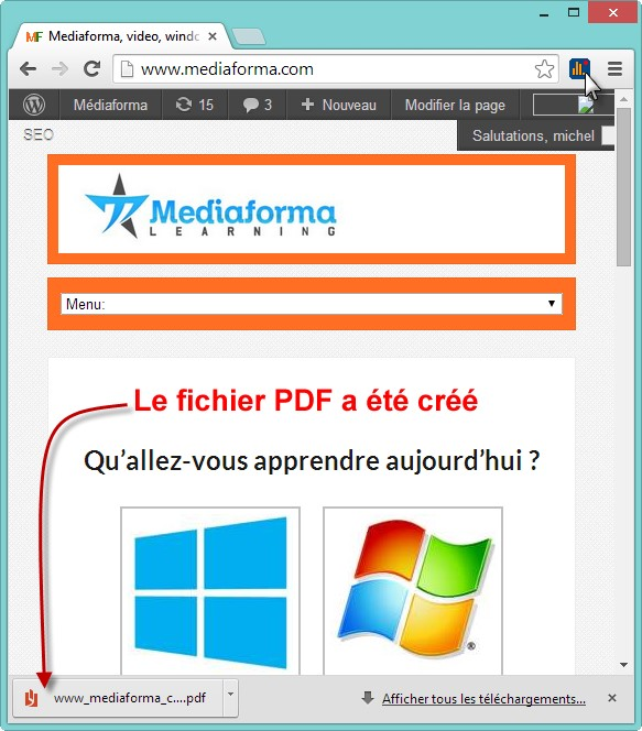 saveaspdf - Récupérer un fichier PDF