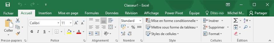 prix plancher styles classiques moins cher Excel 2016 - Première utilisation du ruban - Médiaforma