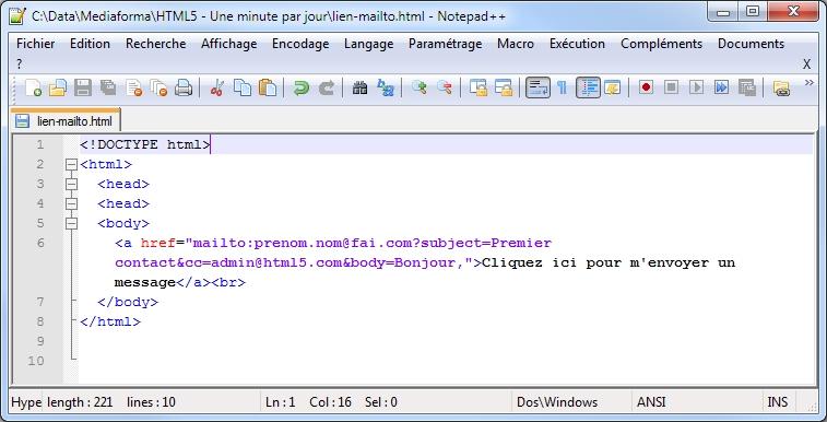 Lien vers une adresse e mail m diaforma for Code html lien nouvelle fenetre