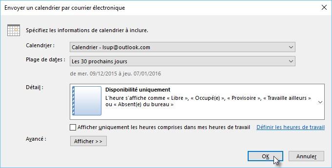 Courrier Et Calendrier.Outlook 2016 Envoyer Son Calendrier Via E Mail Mediaforma