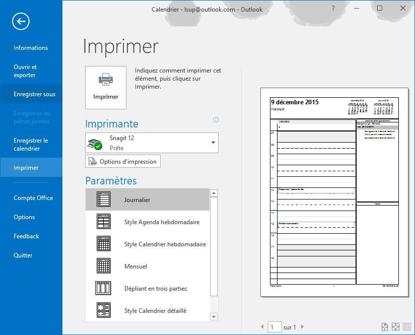 Top Outlook 2016 - Imprimer un calendrier - Médiaforma RW26