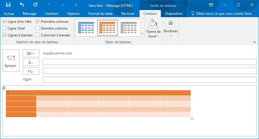 Outlook 2016 ins rer un tableau dans un e mail m diaforma for Dans html