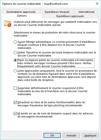 Outlook 2016 Le Filtre De Courrier Indesirable Mediaforma