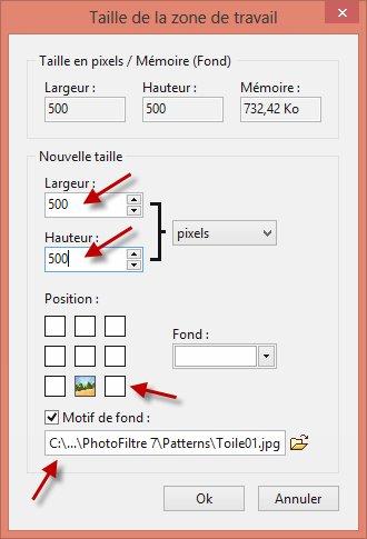 Photofiltre - Modifier les dimensions de la zone de travail