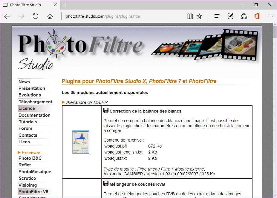 barre des modules photofiltre