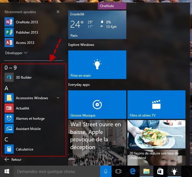 Windows 10 afficher toutes les applications dans le menu - Comment mettre icone sur bureau ...