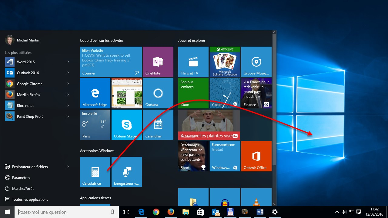 Windows 10 cr er un raccourci d 39 une application sur le - Comment mettre un favori sur le bureau ...