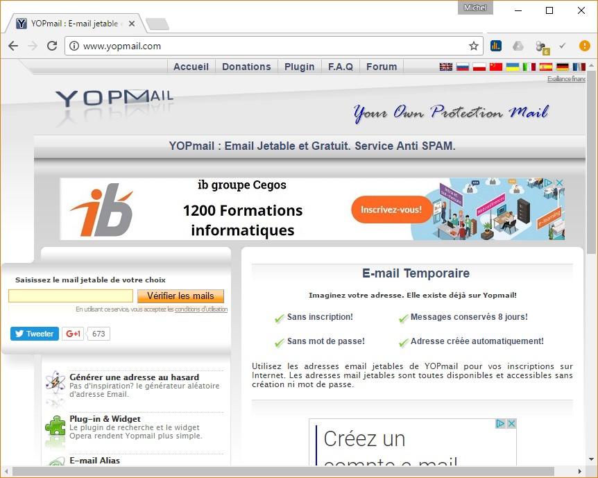 Une adresse email jetable sur le site Yopmail