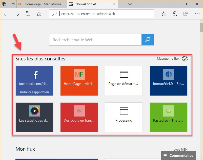 Windows 10 cr ez une page de vos sites pr f r s dans for Windows 10 site