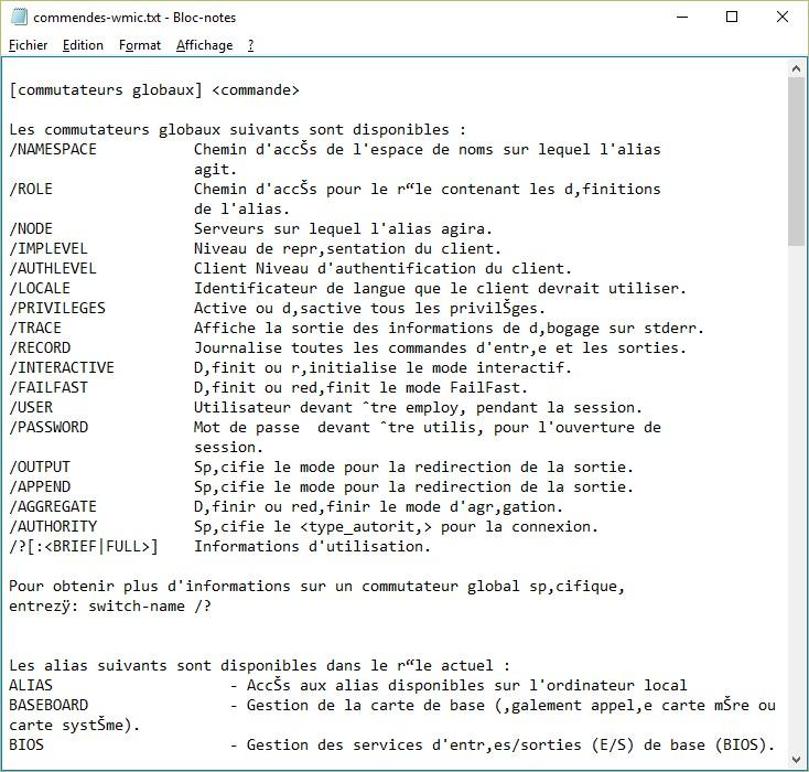 Windows 10 - Informations sur votre ordinateur avec wmic