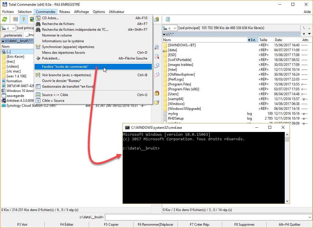 Windows 10 ouvrez une fen tre invite de commandes ici for Fenetre de commande
