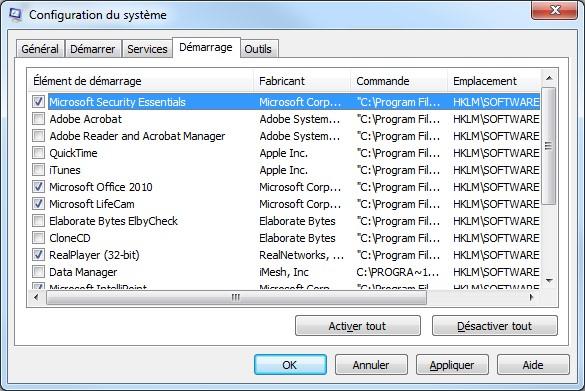 windows seven programme demarrage