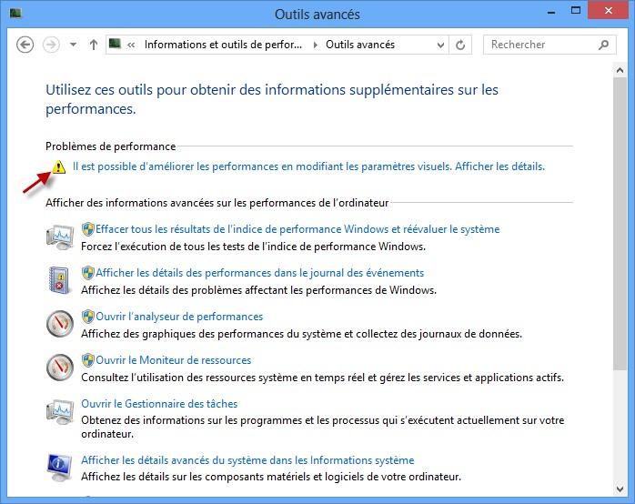 Informations et outils de performance système d'exploitation.
