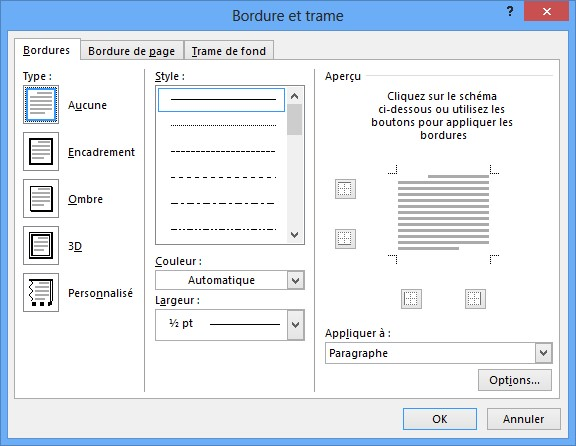 word 2013 - bordures et trames