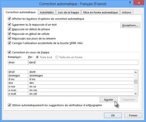 Word 2013 - Correction automatique lors de la frappe