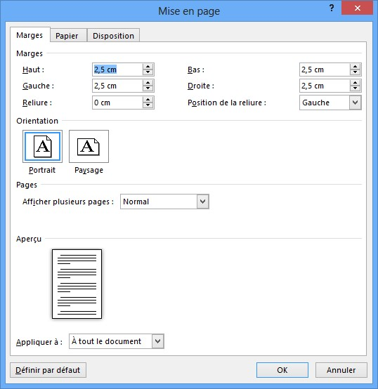 Word 2013 marges format et orientation m diaforma for Dans word