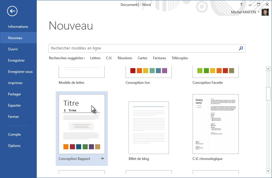 word 2013 - cr u00e9ation d u0026 39 un nouveau document