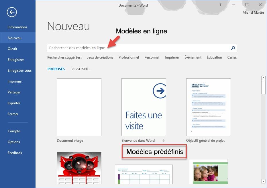 word 2016 - cr u00e9ation d u0026 39 un nouveau document