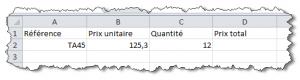 Formules Excel, avant l'insertion